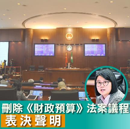 【表決聲明】宋碧琪關於刪除《財政預算》法案議程之表決聲明